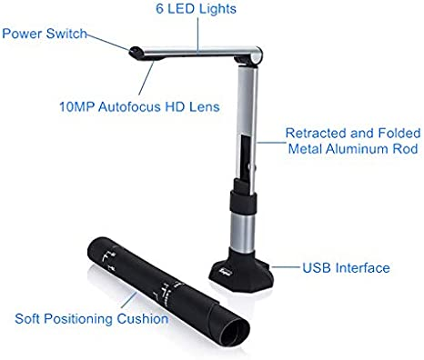 LED ect Document Camera for Teachers USB Scanner Portable A3 /& A4 10MP HD Video Recorder Real-Time Projector for Distance Learning Classroom Doc Scanners Cameras Laptop PC with Multi-Language OCR