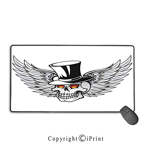 Mouse pad with Lock,Skull,Dead Skull with Wings and Hat Dead Boss in Gothic Mod Illustration,Grey Black White, Suitable for Offices and Homes,15.8