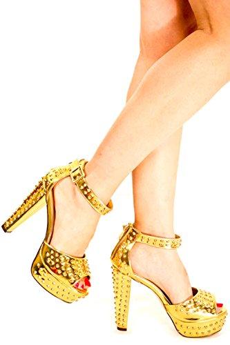 Lolli Couture Plataforma De Triple Correa 6 Pulgadas De Tacón Alto Gold-roxy