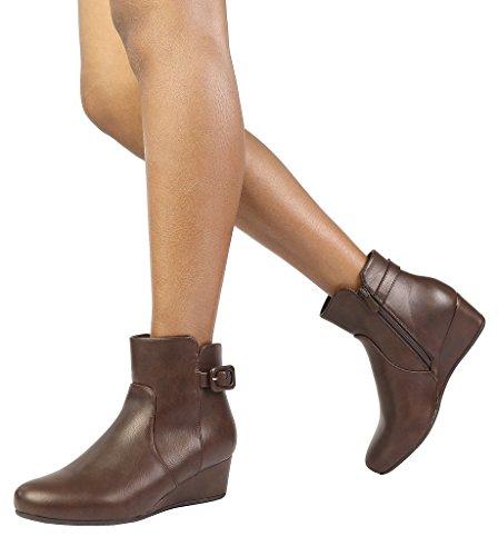 DREAM PAIRS Women's Lang Brown PU Low Wedge Heel Ankle Booties Size 8.5 M - Wedge Rubber Heel