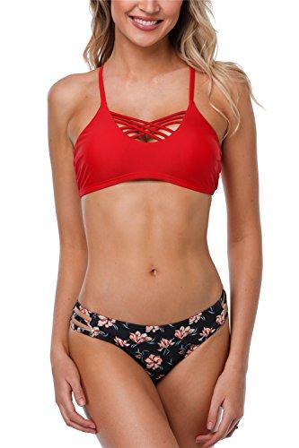 anfilia Women Lace Up Bikini Set Criss Cross Bikini Swimsuit Halter Neck Swimwear