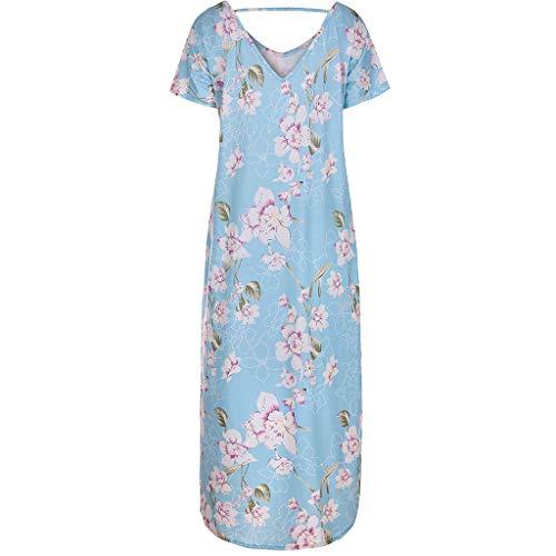 TWGONE Maxi Dresses For Women Summer Short Sleeve Loose Pocket Split Long Dress (X-Large,Blue) by TWGONE (Image #2)