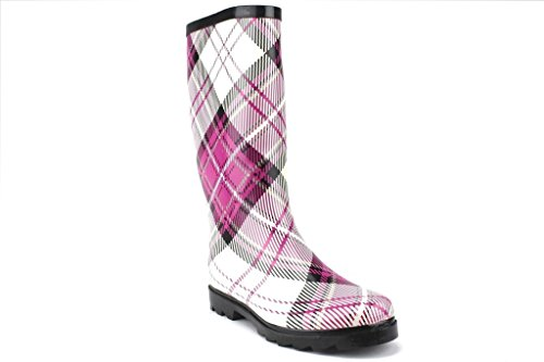 West Blvd Donna Impermeabile Stivale In Gomma Vitello Alto Plaid Stivali Pioggia Plaid Rosa