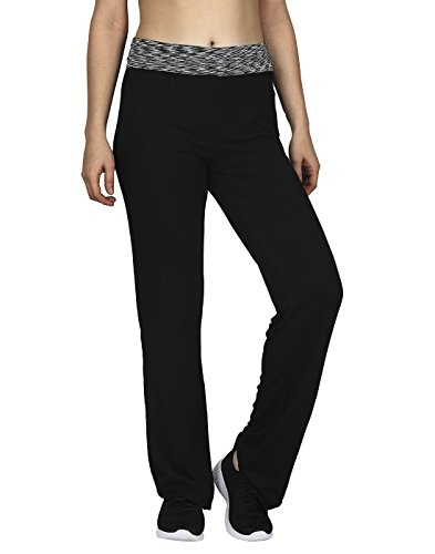 HDE Women's Maternity Yoga Pants Comfortable Lounge Pregnancy Pants Folded Waist,Black Grey Space Dye,Large