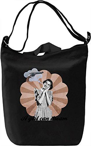 A girl can dream Borsa Giornaliera Canvas Canvas Day Bag| 100% Premium Cotton Canvas| DTG Printing|