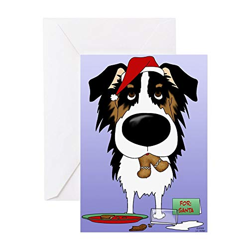 CafePress Aussie Santa's Cookies Greeting Card, Note Card, Birthday Card, Blank Inside Matte