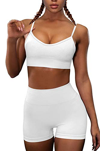 OQQ Yoga Outfit for Women Seamless 2 Piece Workout Gym High Waist Leggings with Sport Bra Set White