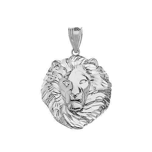 Bold 925 Sterling Silver Leo Zodiac Sign Lion Head Necklace Pendant (Large)