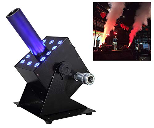 AZALMU 250W Led CO2 Jet Machine DMX 512 Control Fog Smoke Stage Special Effects Colorful 12x3W Led Lighting with 6m Hose