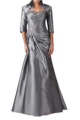Abendkleider Satin Brautmutter Rueschen Charmant Damen Silber Silber von Partykleider Geraft Schmaler Ballkleider tYqtTgBw