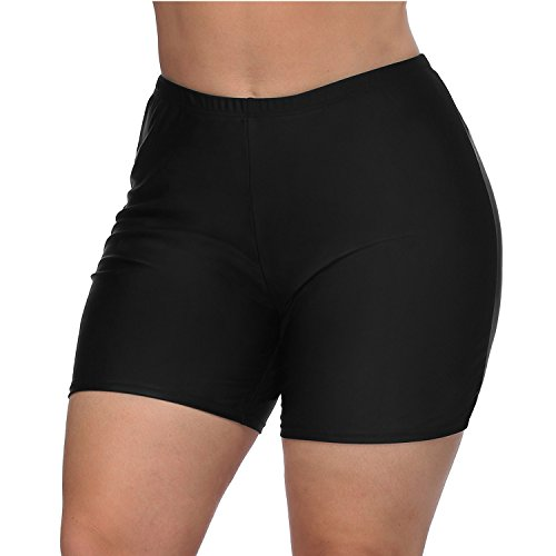 Vegatos Womens Plus Size Swim Boardshorts High Waist Bathing Suit Bottoms Black