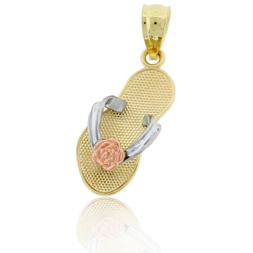 Charm America - Gold Flip-flop Sandal with Flower Charm - 14 Karat Solid - Necklace Flop Flip Charm