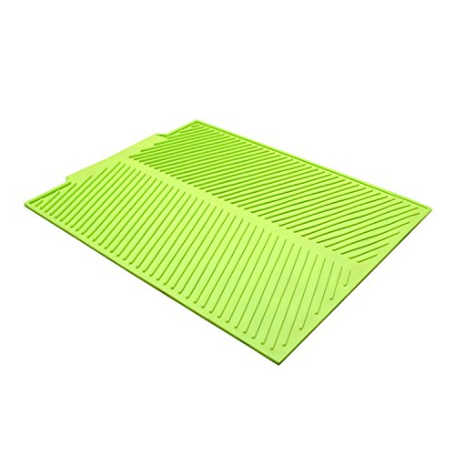 YR Large Silicone Dish Drying Mat,Flume Folding Draining Mat,Non-slip Trivet for Kitchen Counter,17 X 13 inches Green