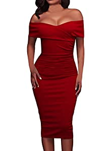 AlvaQ Women's Sexy Ruched Off Shoulder V Neck Bodycon Club Midi Dress