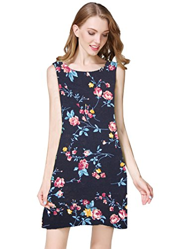Pockets Casual Solid Floral Swing Loose Fit Color Buenos Navy Dress Women's Ninos Shirt T with 7x1BqB