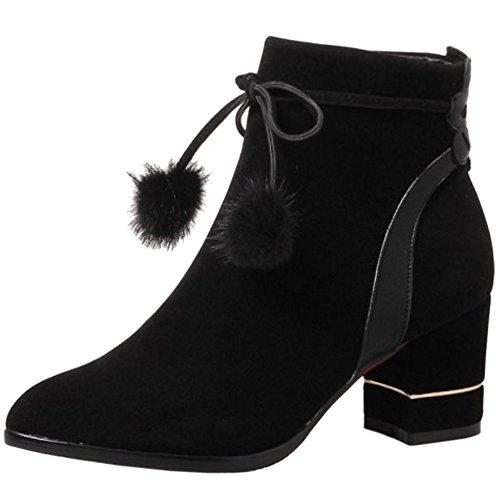 COOLCEPT Mujer Moda Ankle Botas de Ancho with Cremallera Black