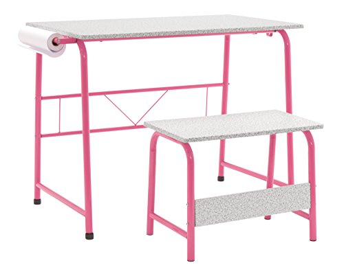 Four Station Art Center (Studio Designs Project Center, Kids Craft Table with Bench In Pink/Spatter Gray 55125)