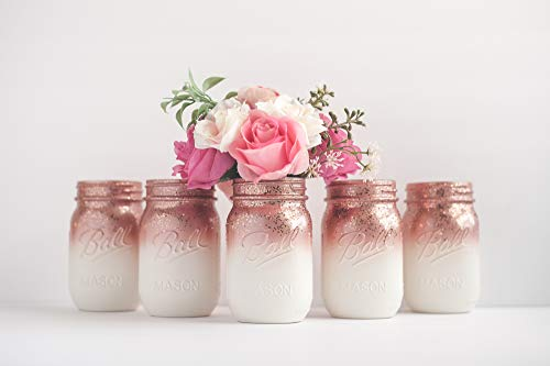 6 Ombre Rose Gold Mason Jar Vases for Wedding Centerpieces or Home Decor Organizing Storage
