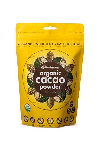 pHresh Superfoods Premium Cacao Powder - Great Taste Unsweetened Healthy Rich Dark Chocolate 226.79g (8oz) - Certified 100% Organic Vegan Keto Gluten Free Non-GMO - Amino Acids Protein Fiber 8oz. ()