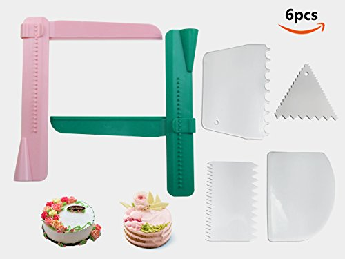 6 Pcs Cake Scraper Smoother Set - Joyoldelf 2pcs Adjustable Cake Smoother Polisher with 4pcs Different Dough Scraper Tools for Smoothing Cakes Buttercream Edge