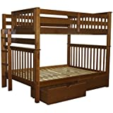 Bedz King Bunk Beds Full over Full Mission Style with End Ladder and 2 Under Bed Drawers, Espresso