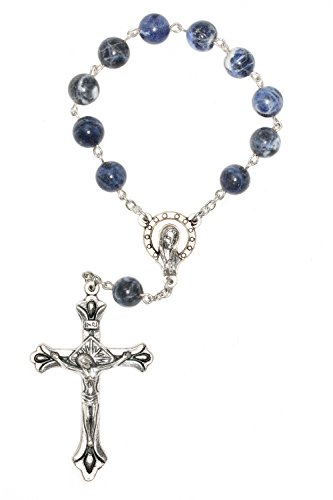 One Decade Pocket Rosary made with Sodalite Gemstones