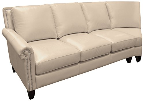 Omnia Leather Benjamin Left Arm 3 Cushion Sofa with Half Curve in Leather, with Nail Head, Softstations White Winter