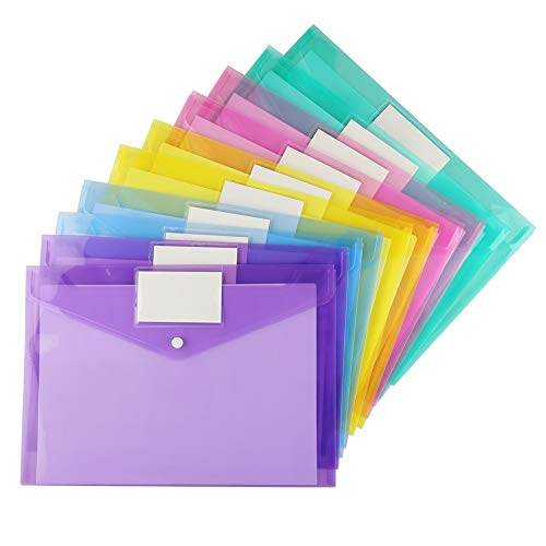 (20 Pack Plastic Envelopes Poly Envelopes, Sooez Clear Document Folders US Letter A4 Size File Envelopes with Label Pocket & Snap Button for School Home Work Office Organization, Assorted Color)