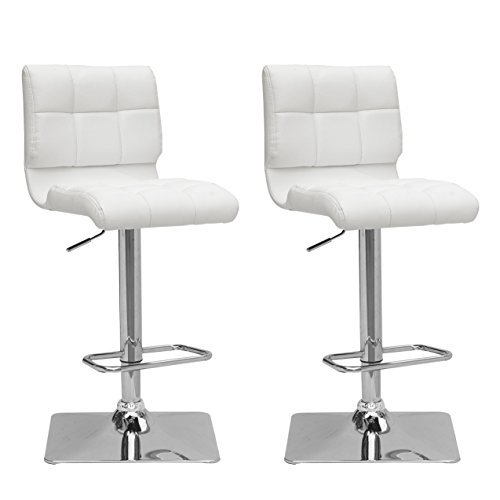 CorLiving Adjustable Barstool in White Bonded Leather, set of 2