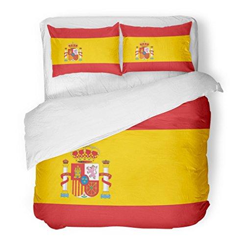 SanChic Duvet Cover Set Spanish Spain Flag Barcelona Madrid Emblem Graphic Decorative Bedding Set with Pillow Sham Twin Size by SanChic