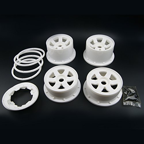 Xmax Racing White Front and Rear Wheel and Beadlock Rim for 1/5 HPI ROVAN KM Baja 5B SS ()