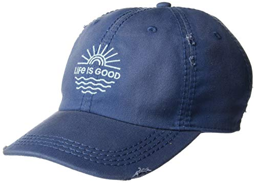 Life is Good Unisex Sunwashed Chill Cap Baseball Hat, Vintage Blue, OS