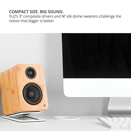 "Kanto 2 Channel Powered PC Gaming Desktop Speakers – 3"" Composite Drivers 3/4"" Silk Dome Tweeter – Class D Amplifier - 100 Watts - Built-in USB DAC - Subwoofer Output - YU2MB (Matte Black)"