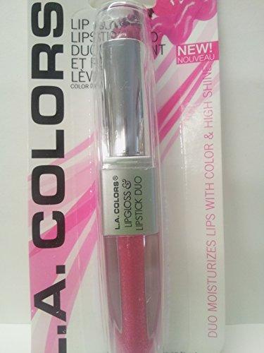 LA Colors Lip Gloss & Lipstick Duo, Moisturizes lips with natural color & high Shine, BLC824 Sensual ()