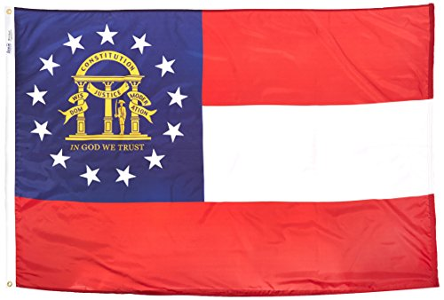 (Annin Flagmakers Model 141163 Georgia State Flag 4x6 ft. Nylon SolarGuard Nyl-Glo 100% Made in USA to Official State Design Specifications.)