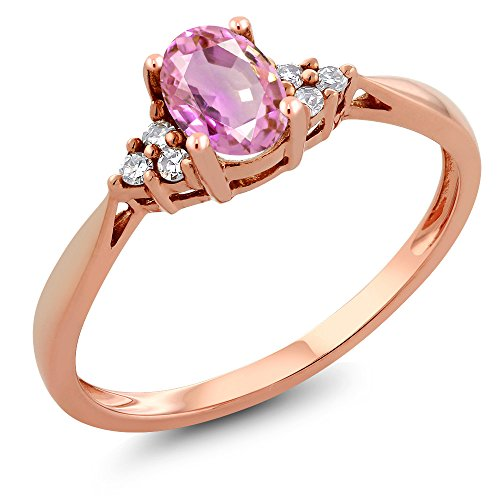 - 0.55 Ct Oval Pink Sapphire and Diamond 14K Rose Gold Ring (Size 6)