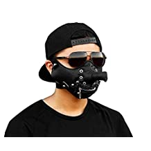 Mens Punk Biker Leather Full-face Mask Masquerade Black Cosplay MB03