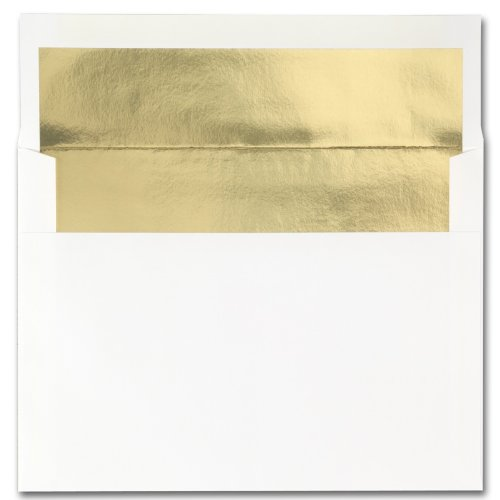 Fine Impressions Hi White Envelopes with Gold Liner - A7 (5 1/4 x 7 1/4) 70 lb Text Vellum - 250 per Box (Square Vellum Envelopes)