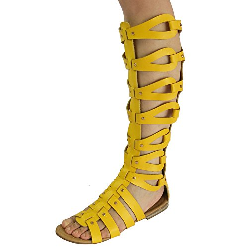 Womens Cut Out Flat Knee Boots Gladiator Sandals Yellow Tag Size 39 - UK 6.5 c91jf