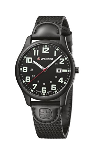Wenger Men's 'City Active' Swiss Quartz Stainless Steel and Nylon Casual Watch, Color:Black (Model: 01.1441.114)