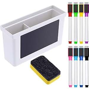 Caja de Plástico Magnética de Pizarra, 8 Piezas de Marcador Magnético Colorido con Tapa de Borrador, Borrador de Pizarra Blanca Magnética para Escuela ...