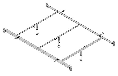 Bed Iron Rails - Full to Queen Converter Rail, Hook-on with 3 Center Supports