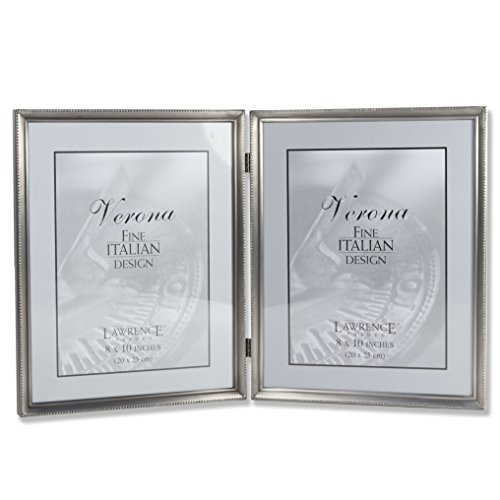 Lawrence Frames Antique Pewter 8x10 Hinged Double Picture Frame - Bead Border Design