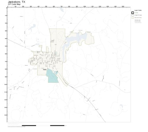 Map Of Jacksboro Texas.Amazon Com Zip Code Wall Map Of Jacksboro Tx Zip Code Map