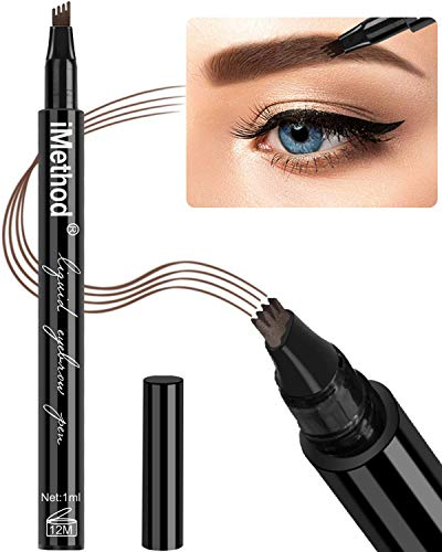 Eyebrow Tattoo Pen - iMethod Microblading Eyebrow Pencil with a Micro-Fork Tip Applicator Creates Natural Looking Brows Effortlessly and Stays on All Day (Chestnut)]()