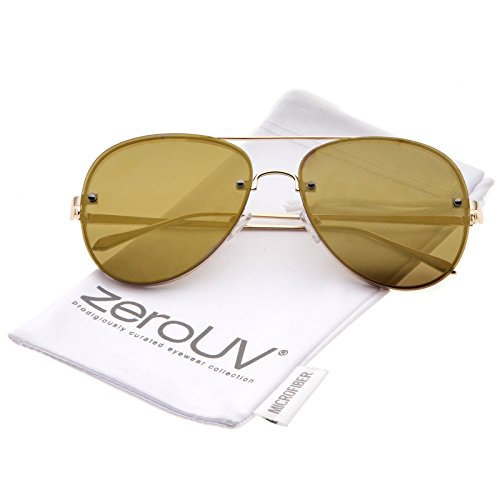zeroUV - Modern Slim Metal Frame Brow Bar Colored Mirrored Flat Lens Aviator Sunglasses 60mm (Gold / Gold - Mirrored Coloured Aviators