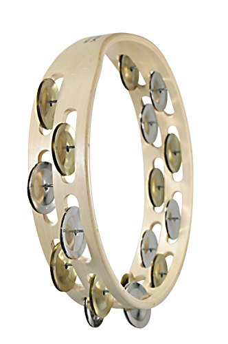 Tycoon Double Row Wooden Tambourine with Dark Mixed Jingles