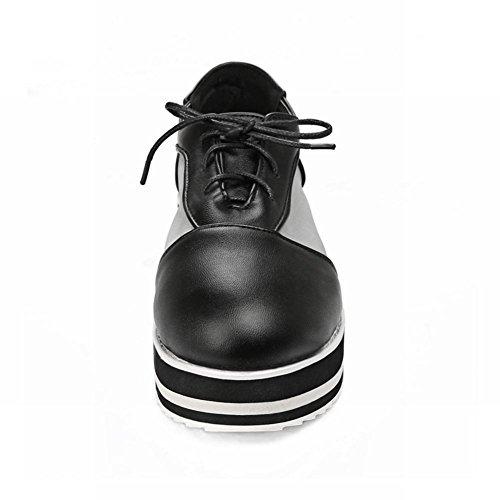 Show Shine Womens Chic Mesh Lace Up Platform Sleehak Oxfords Schoenen Zwart