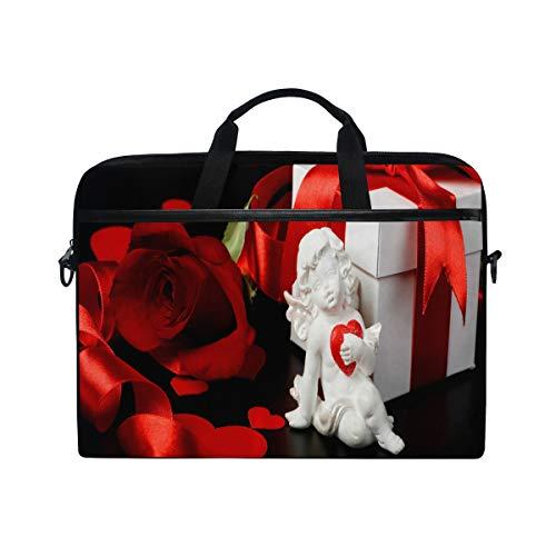 (Cupid Rose Love Valentine's Day 14 15inch Laptop Case Laptop Shoulder Bag Notebook Sleeve Handbag Computer Tablet Briefcase Carrying Case Cover with Shoulder Strap Handle Travel/Business/School)