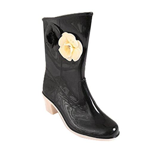 LvRao Women's High Heel Wellington Wellies Flower Waterproof Rain Shoes Mid-calf Snow Boots High Ankle Booties Black